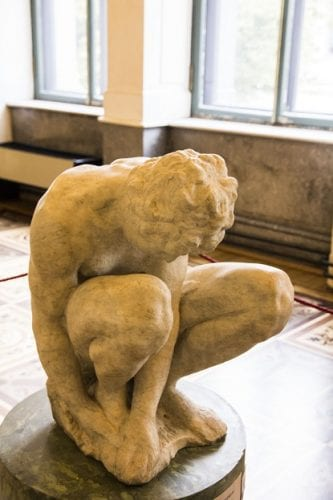 """The unfinished sculpture, """"The Crouching Boy,"""" is the sole sculpture from Michelangelo in the collections of the Hermitage Museum in St. Petersburg, Russia."""