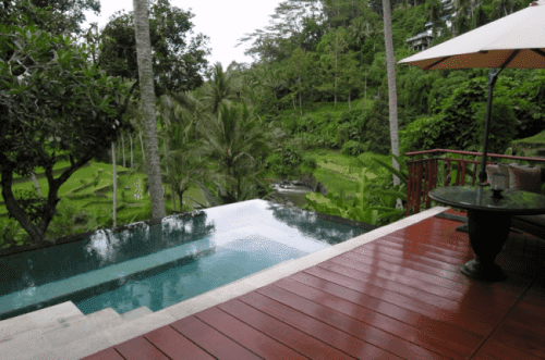 The lushness of the highlands of Ubud, Bali, as seen from the deck and private pool of a room at Four Seasons Resort Sayan