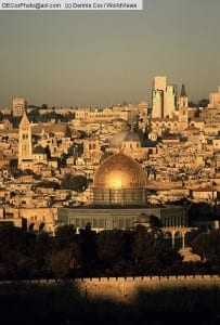 Israel: Jerusalem with Dome of the Rock viewed from Mount of Olives